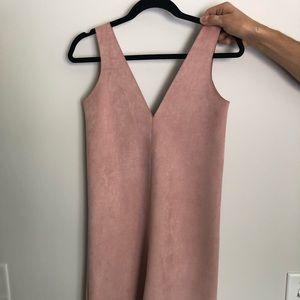 Zara Suede Mini Dress in Dusty Pink